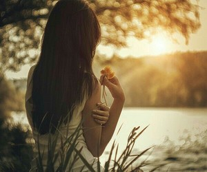 girl, flowers, and sunset image