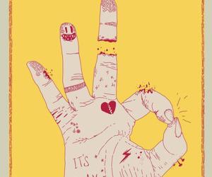 yellow, art, and hand image