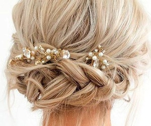 blonde, hair style, and braids image