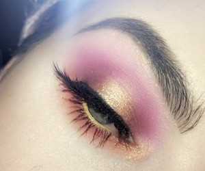 beauty, pink makeup, and makeup look image