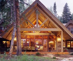 cabin, log cabin, and wooden homes image