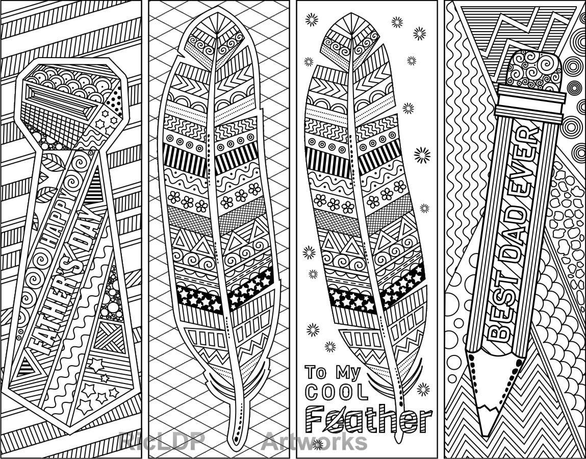 5 Coloring Bookmarks for Father\'s Day plus 3 modified ...