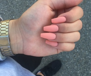 nails, peach, and summer image