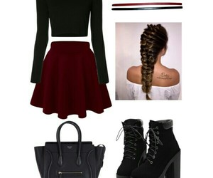 braids, Polyvore, and skirt image