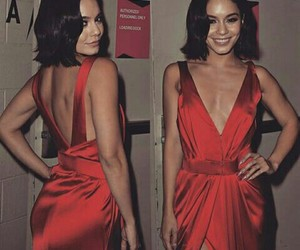actor, red dress, and short hair image