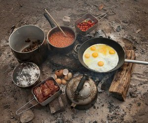 camping, food, and breakfast image