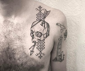 arrow, chest, and dots image