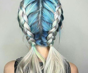hair, blue, and braid image