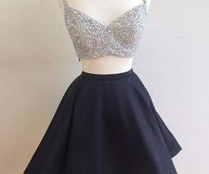 black party dress, short prom dress, and beaded homecoming dresses image