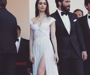 lily collins and dress image