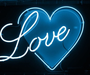 love, heart, and neon image