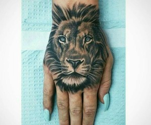 tattoo, hand, and lion image
