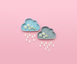 pink, rain, and aesthetic image