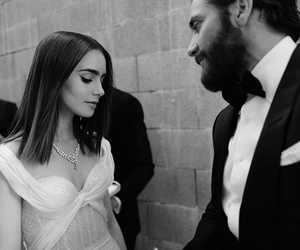 lily collins, jake gyllenhaal, and black and white image