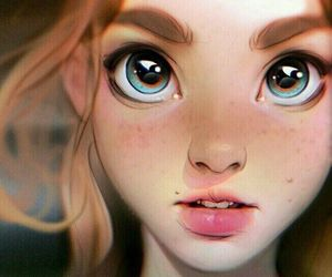 blue eyes, paint, and girl image