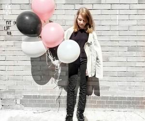balloons, birthday, and black image