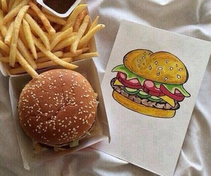 food, burger, and draw image