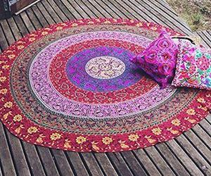 beach towels, round tablecloth, and mandala roundie image