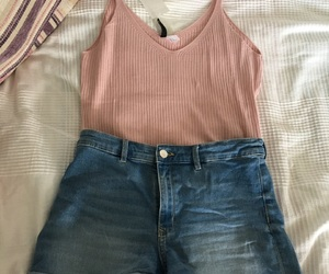 outfit, jeansshorts, and summer image