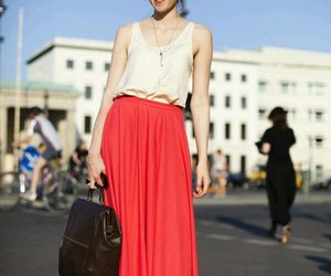 fashion, longskirt, and woman image