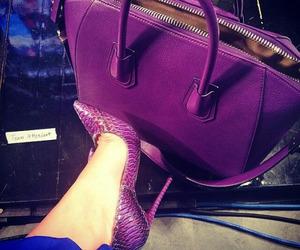 bag, purple, and heels image
