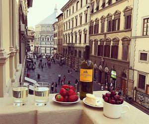 art, balcony, and cherries image