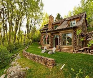 house, cabin, and homes image