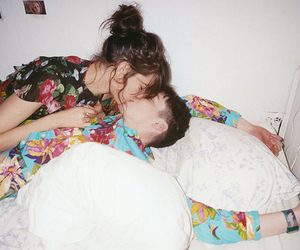 kiss, couple, and bed image