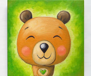 bear, brown bear, and oil on canvas image