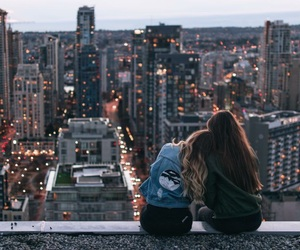 city, girl, and friends image