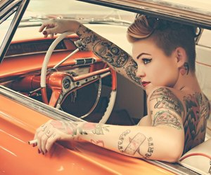 tattoo, car, and girl image