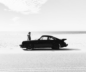 black and white and car image