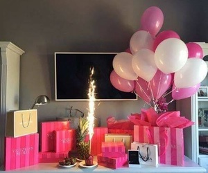 balloons, gifts, and pink image