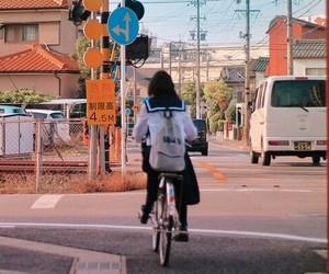 bike, girl, and japan image
