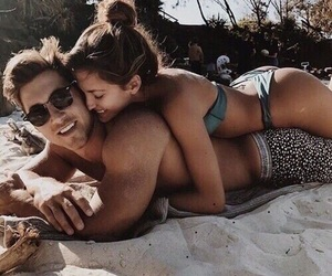 beach, kiss, and love image