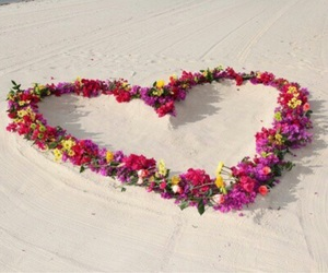 flowers, beach, and heart image