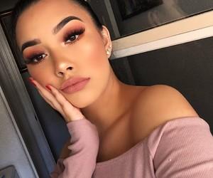 dress, eye shadow, and pink image