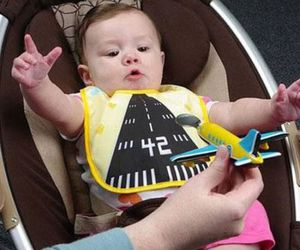 baby, funny, and airplane image