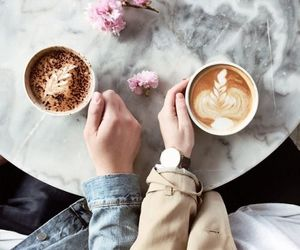 coffee, couple, and flowers image