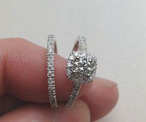 beautiful, diamond ring set, and classy image