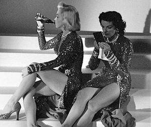 Marilyn Monroe, Jane Russell, and black and white image