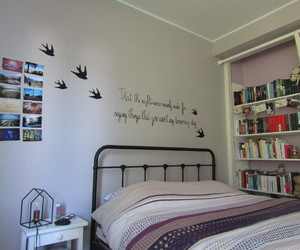bedroom, birds, and books image