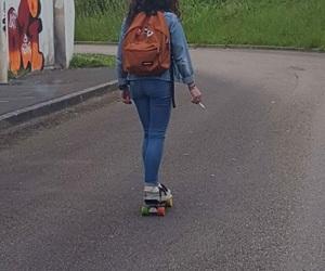 cigarette, penny, and skateboard image