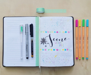 colours, journaling, and pens image
