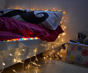 light, bed, and mustache image