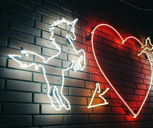 unicorn, heart, and neon image