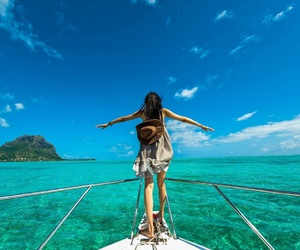 boat, girl, and mauritius image