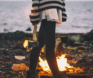 girl, fire, and hipster image