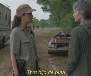 carol, rosita, and twd image