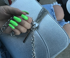 green nails, grey, and nails image